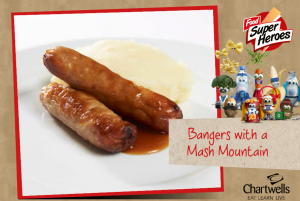 week-2-bangers-with-a-mash-mountain-and-gravy-served-with-peas-and-carrots